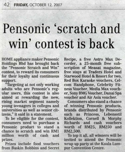 PENSONIC 'Scratch and Win' contest is back
