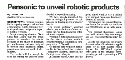 Pensonic to unveil robotic products