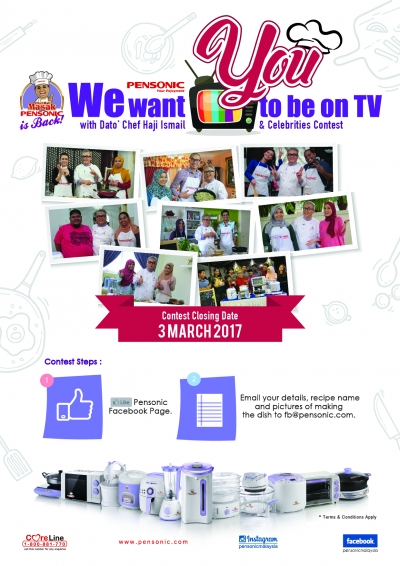 "PENSONIC MALAYSIA ""WE WANT YOU TO BE ON TV"" BERSAMA DATO' CHEF HAJI ISMAIL DAN SELEBRITI JEMPUTAN!"