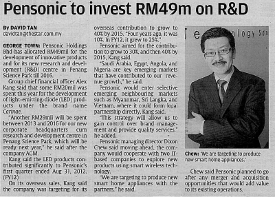 Pensonic to Invest RM49m on R&D
