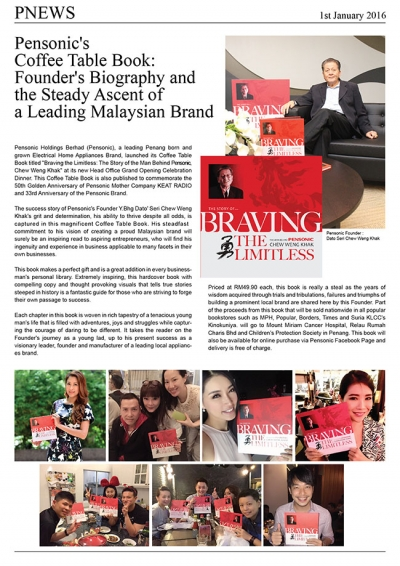 Pensonic's  Coffee Table Book:  Founder's Biography and  the Steady Ascent of  a Leading Malaysian Brand