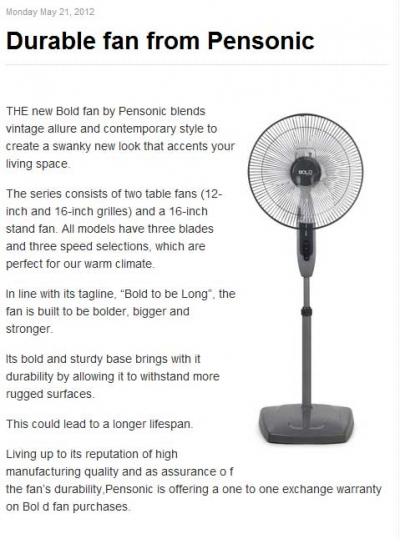 Durable fan from Pensonic